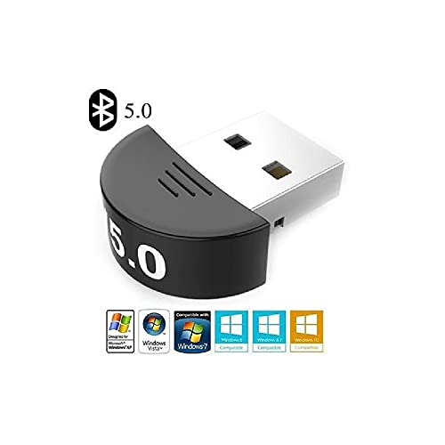 TERABYTE USB Wireless Bluetooth Mini Dongle Adapter V5.0 Bt Audio Receiver Supports Pc Computer Windows MAC iOS Desktop Laptop Mouse Keyboard Printers Headsets Speakers (Black) 01