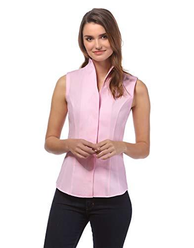 Vincenzo Boretti Damen Bluse mit Kelchkragen leicht tailliert 100% Baumwolle bügelleicht Kurzarm ärmellos Hemdbluse mit Stehkragen elegant festlich auch für Business pink 34