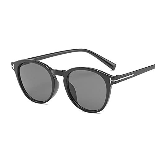 DGSDFGAH Gafas De Sol Mujer Gafas De Sol Polarizadas para Hombres/Mujeres Retro Moda Unisex Gafas De Sol Redondas Negras Mujer Retro