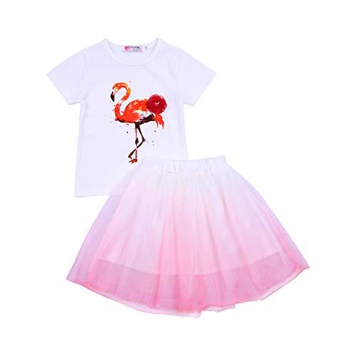 L&ieserram Florali - Juego de 3 piezas de ropa de niña con estampado de gato, diente de flamenco de manga corta + tutú de tul para primavera, verano, otoño Color blanco. 7-8 años