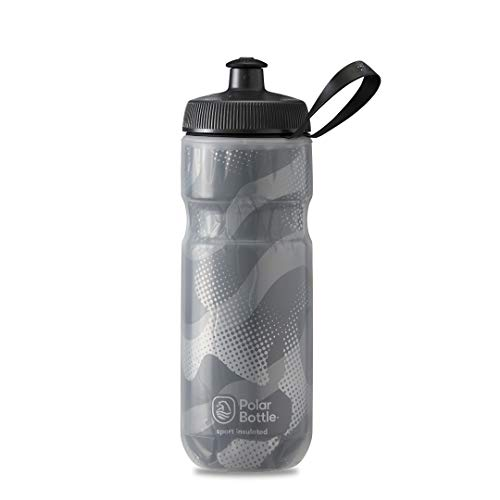 Polar Bottle Sport Insulated Water Bottle - BPA-Free, Sport & Bike Squeeze Bottle with Handle (Contender - White & Silver, 20 oz)