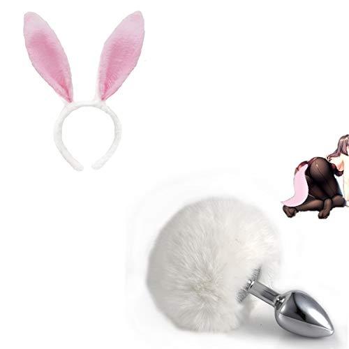 Diadema sexy Banda para el cabello con oreja y cola de bola de pelo A-l P-lg para la fiesta de Halloween Accesorio para disfraz de cosplay - L