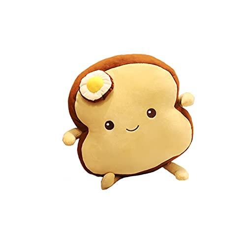 QKFON Super lindo Toast Plush Toy Suave Huevo escalfado en rodajas de Pan Almohada Gran Cumpleaños Regalos de Navidad Expresión Facial Tostada Suave Pan Comida Sofá Cojín Muñeca de Peluche para Niños
