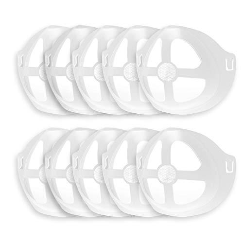 CaLeQi 3D-Maskenhalterung aus Silikon, Innenstütze, Halterung für bequemes Tragen der Maske, durch Schaffung von mehr Platz, schützen Sie Frauen, Lippenstift, Lippen, 10 Stück