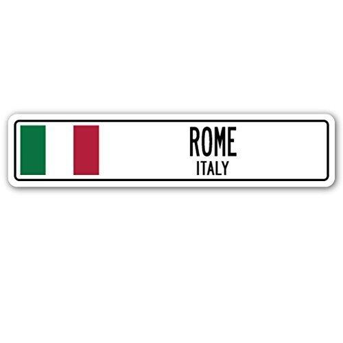 Decorativo Signs con texto en Roma, Italia bandera de Italia Ciudad País carretera placa de calle pared regalo Metal Aluminio Pared Signo Señal De Seguridad