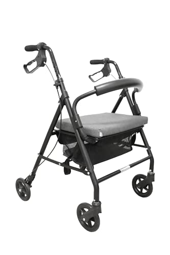 KMINA - Andador para ancianos, Andador plegable, Andadores para ancianos 4 ruedas, Andadores adultos, Andador para ancianos con asiento, COMFORT Gris Freno Maneta