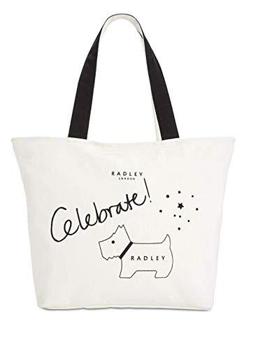 Radley London Celebrate Handtasche mit Reißverschluss, Leinen, Weiß