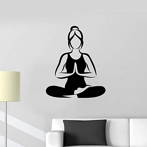 WGWNYN Yoga Girl Sticker Decal Lotus Fitness Poster Vinyl Wall Decal Pegatina Decorative Mural Yoga Sticker 40 * 48cm