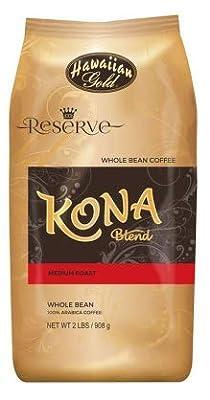 Hawaiian Gold Kona Medium Roast Gourmet Blend Whole Bean Coffee - 2 Lbs Bag (Pack of 2)