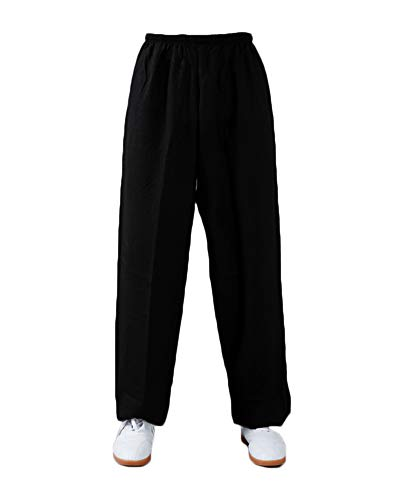 Shaoyao Unisex Pantalones Kung Fu – Wushu – Tai Chi – Taiji – Martial Arts – Pantalón – Sport – Yoga – Tiempo Libre Negro L
