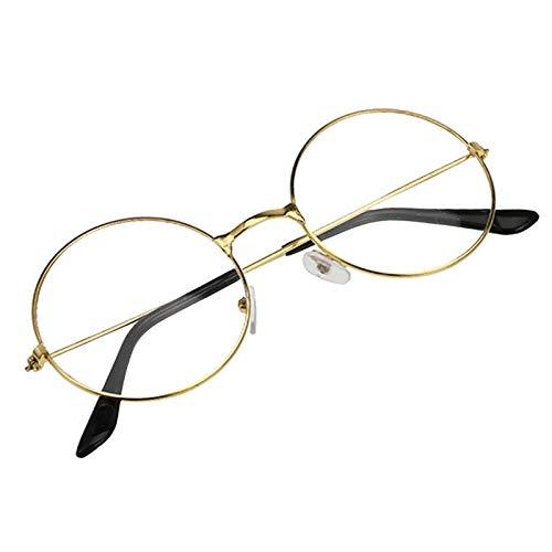 LYYCEU Vintage Retro Círculo Marco Metal Eyeaglasses Moda Mujeres Eyewear Original Borrar Lente Gafas de Gran tamaño Círculo Redondo Ojo Unisex (Color : Golden 2)