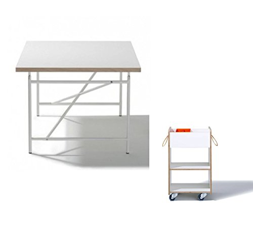 Ausstellungsstück Kinderschreibtisch Eiermann 120 x 70 cm (weiß) + Kindercontainer Fixx (mit Geheimfach) + Stiftschale von Richard Lampert
