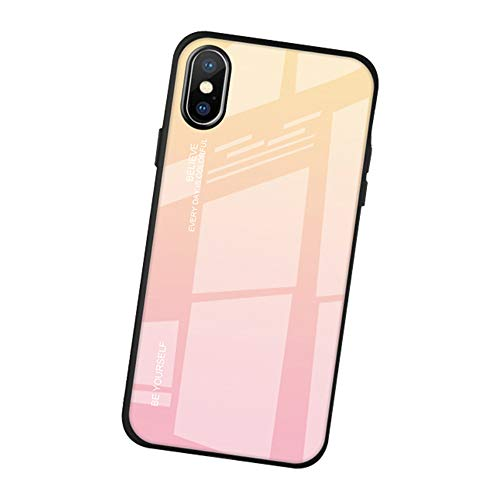 AIsoar Compatible with iPhone Xs Colored Gradient Tempered Glass Case,Tempered Glass Back Cover + Soft TPU Bumper Frame Shockproof Anti-Scratch Protective Cover Shell (Pink + Yellow)