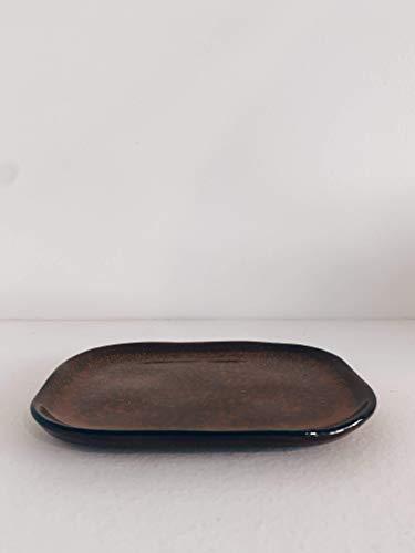 MERCI N°3 Assiette Ocre & brun - L 14.5 cm