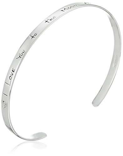 "Sterling Silver ""I Love You to the Moon and Back"" Cuff Bracelet"