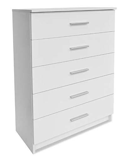 Zerone Kommode mit 5 Schubladen, Beistelltisch aus Holz, für Sofa, Schlafzimmer, Wohnzimmer, Weiß, 71 x 35 x 106 cm