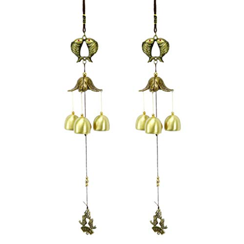 Toyvian 2pcs Metal Wind Chimes with Fish Decoration Vintage Windbells Hanging Ornament Decorations for Home Outdoor Garden Patio (Fish)