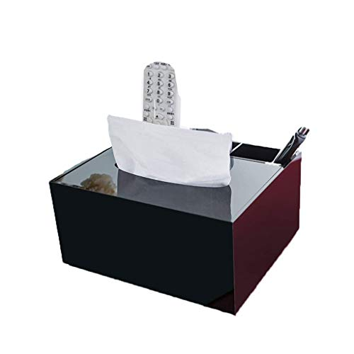 XYZMDJ Caja de almacenamiento multifuncional simple negro acrílico sala de estar mesa de café hogar control remoto caja de almacenamiento