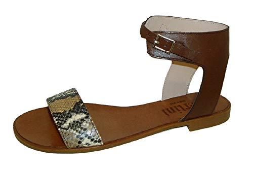 Zapatos Nieves Martín Pertini 9396, Sandalia Mujer Pie marrón Chocolate pulsera (39 EU, Marrón)