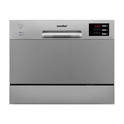 COMFEE' Lave-vaisselle compact de table TD602E-S Mini lave-vaisselle avec 6 couverts, 6 programmes, écran LED, démarrage retardé, fonction de lavage dans les heures non de pointe – Argenté