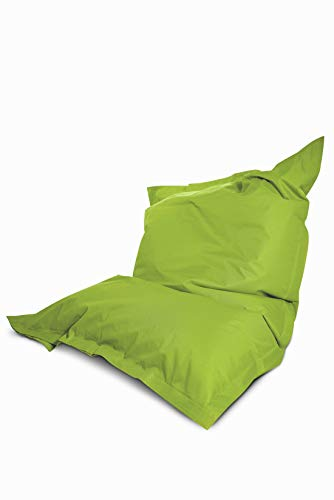 Greenbean Square XXL Outdoor Sitzsack Sitzkissen Beanbag 140x180 cm ROBUST PVC für Kinder und Erwachsene - 380L EPS Füllung - Grün