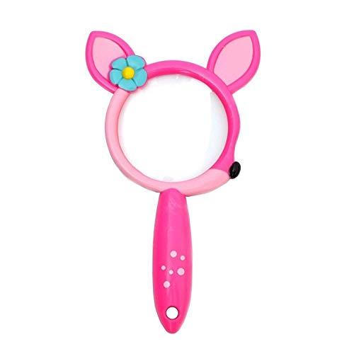 ZKZK Lupenglas für Kinder,Cartoon Lupe Karikatur Niedlichen Tierfarbe Hängenden Ring Pädagogische Insektenbeobachtung für Kleinkinder, Abenteuer im Freien, Optisches Spielzeug( Pink)