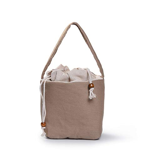 DIJUE Beige Tragbare Reise Aufbewahrungstuch Tasche Baumwolle Hanf Aufbewahrungstasche Shangkoub Bag Teebeutel 14 * 14 * 14,5 cm