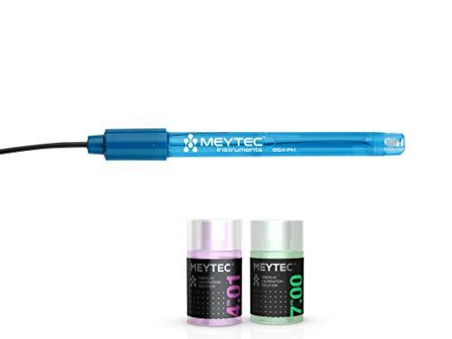 Sonda de pH - Electrodo de pH de repuesto precisa para piscinas, acuarios y laboratorios. Con solución tampón pH 4 y 7