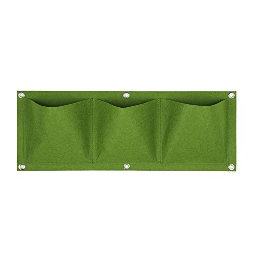 Feib Multiport Horticulture Vertical Plantation Pépinière Non - tissé Sac de Culture Zone de Culture Pot Suspendu(3 Pockets,Green)