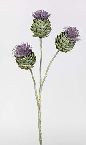 Seidenblumen Roß Distelzweig 58cm mit 3 Köpfen LM Kunstblumen künstliche Distel Blumen Kunstzweig