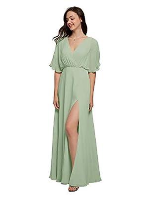 ALICEPUB V-Neck Sage Green Bridesmaid Dress Chiffon Long Formal Dresses for Women Party Evening Short Sleeves, US14