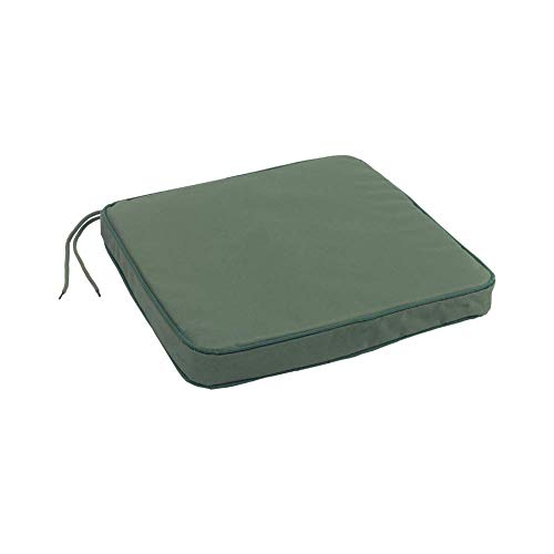 Rhubarb and Crumble Garden Seat Pad Waterproof Cushion Tie On with Memory Foam Base - Perfect for Indoors & Outdoors (Green)