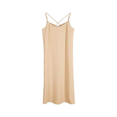 Vestido de Primavera y Verano para Mujer Nuevo Vestido de Tirantes Falda sin Mangas de Gasa sin Respaldo de Color sólido