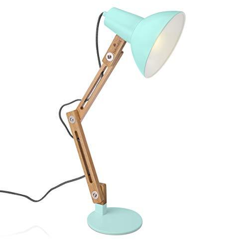 Navaris Design Holz Schreibtischlampe - E27 Fassung - mit Standfuß - Retro Tischlampe mit verstellbarem Gelenkarm - Vintage Nachttischlampe Mint Grün