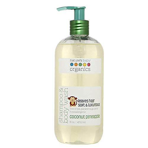Nature's Baby Organics Baby 3-in-1 Shampoo, Body Wash and Face Wash, Moisturizing Tear Free Baby Shampoo All Natural Baby Wash With Organic Ingredients, No Sulfate or Paraben, Coconut Pineapple, 16 Oz
