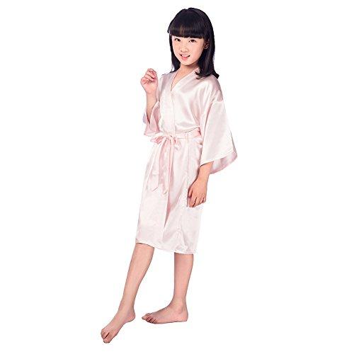 Miyanuby Niñas Satin Kimono Vestido Moda Albornoz Seda Ropa de Dormir y Batas de baño/Pijamas y Batas/Camisones para Fiesta de SPA Boda Regalo de Cumpleaños para Niñas de 3 a 14 Años