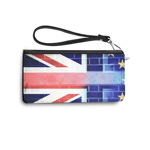 Carteras de Mujer Monedero Largo de Cuero Flags of UK and EU Combined Over Icons of London Brexit conceptPU de Moda Cartera con Tarjetero para Mujer Organizar One Size