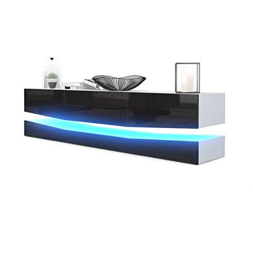 Vladon TV Board Lowboard City, Korpus in Weiß matt/Fronten in Schwarz Hochglanz inkl. LED Beleuchtung