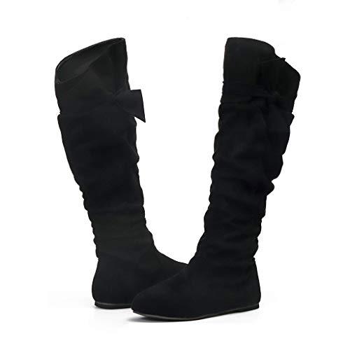 erthome aux Femmes Dames Mode Décontractée Belle Noué Au Genou Longue Bottes Appartement des Chaussures
