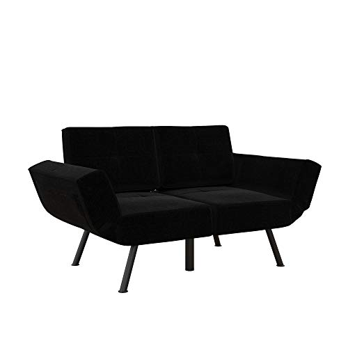REALROOMS Euro Loveseat Futon, Reclining Sofa and Couch with Magazine Storage Pockets, Black Linen