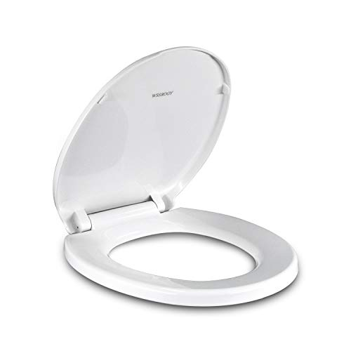 Round White Toilet Seat with Cover will Slow Close and Durable Never Loosen the Non-Slip Seat
