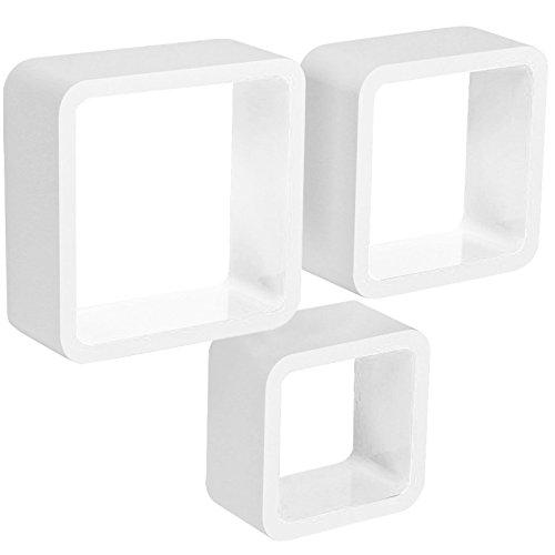 WOLTU Estante de Pared Estantería Cubo Madera Estante Decorativo Conjunto de 3 Estante Colgante Retro Blanco RG9236ws
