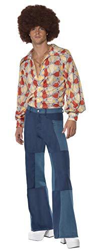 Smiffys volwassen mannen jaren 1970 Retro kostuum, shirt en patchwork Denim, 70 Disco, Serious Fun Smiffys 1970s Retro Kostuum XL - Size 46