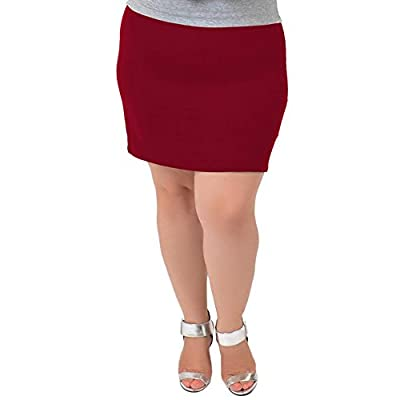 Stretch is Comfort Women's Plus Size Cotton Soft Stretch Fabric Basic Mini Skirt