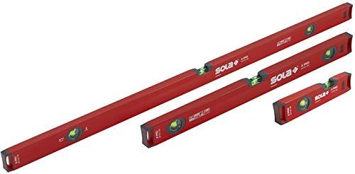 SOLA LSX482410 X PRO Aluminum Box Profile Spirit Level Set with 60% Magnified Vials, 10, 24 & 48-Inch