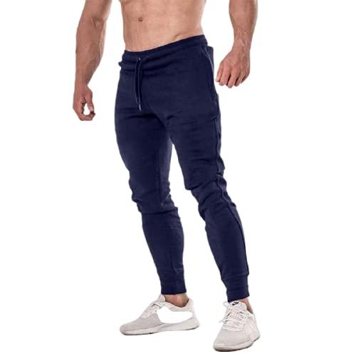 Corumly Pantalones Deportivos para Hombre Pantalones Deportivos Ajustados de Cintura elástica de Gran tamaño con cordón de Color Liso Simple Adecuado para Todos los Deportes 3XL