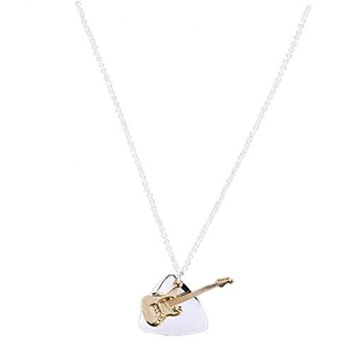 Púa De La Guitarra Collar Collares Forma Geométrica Clavícula Cadena De Instrumento Musical Collar del Encanto Pendiente De La Aleación Cuello del Ahogador Joyería