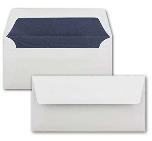 50 Briefumschläge Weiß - DIN Lang - gefüttert mit dunkelblauem Seidenpapier - 100 g/m² - 22 x 11 cm - Nassklebung - Qualitätsmarke: NEUSER PAPIER