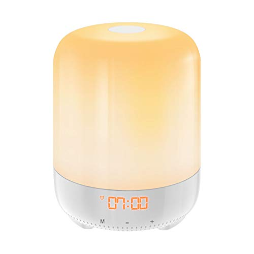 (Upgraded) AMIR Wake-Up Light, Sunrise Simulation Alarm Clock, Nature Night Light, 3 Brightness Bedside Lamp for Kids, Morning Wake-Up Alarm Light with Nature Sounds - Touch Control