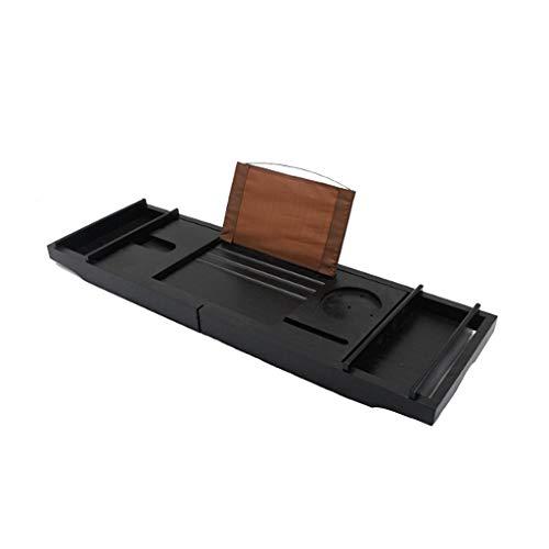 Shelf Plateau De Baignoire en Bambou Noir avec Support De Lecture pour Tablette Support De Tablette pour Téléphone Portable Et Porte-Verre à Vin, Plaisir De